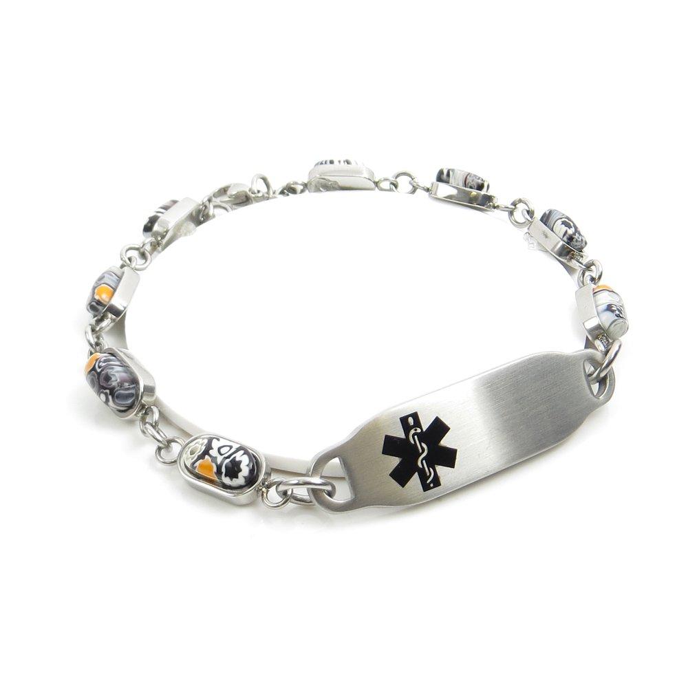 My Identity Doctor - Pre-Engraved & Customized Diabetic Medical Bracelet, Black & White Millefiori Glass Pattern Black