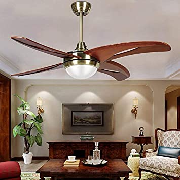 LED Ceiling Fan with 4 Hollow Wood Blades Remote Control Modern Ceiling Fan Mute Fan for Decorating Living Room Dining Room 48 Inch,Akronfire