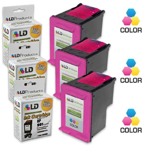LD © Remanufactured Replacement Ink Cartridges for Hewlett Packard CC656AN (HP 901) Tri-Color (3 Pack)