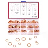300Pcs 12 Sizes Flat Copper Washers Metric Sealing Washer Assortment Set (M5-M20) WANYIFA