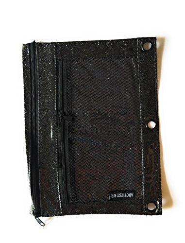 Black Durable Vinyl Binder - Durable Glitter Vinyl Double Zipper Binder Pencil Pouch (Black)