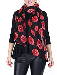 Muke Women's Poppy Flower Print Floral Silk Wrap Square Scarf