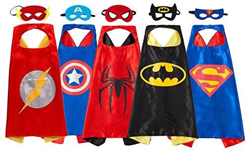 Ruwoo Comics Cartoon Hero Dress Up Costume Satin Cape with Felt Mask (Super Hero Dress Up)