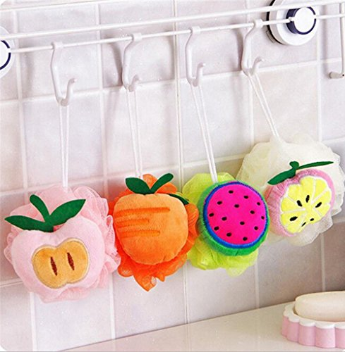 mk. park - Fruit Scrubber Bath Shower Mesh Sponge Exfoliating Body Brush Wash Nylon Puff