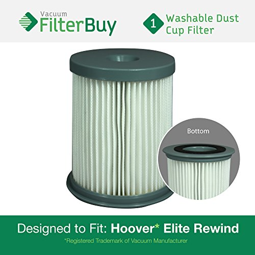 Hoover Elite Rewind Dust Cup Filter, Part # 59157055. Designed by FilterBuy to fit ALL Hoover Elite Rewind Upright Bagless Vacuum Cleaners