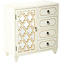 Heather Ann Creations 4 Drawer Wooden Accent Chest and Cabinet, Multi Clover Pattern Grille with Mirrored Backing, 30.75H x 29.5W, Beige/Gold