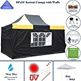 10'x15′ Ez Pop up Canopy Party Tent Instant Gazebos 100% Waterproof Top with 4 Removable Sides Black/Yellow – E Model By DELTA Canopies For Sale