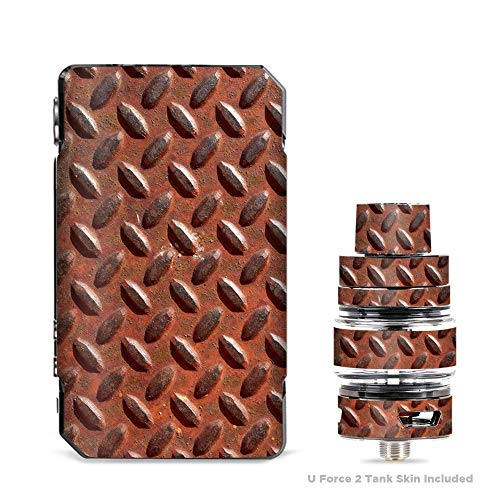 IT'S A SKIN Decal Vinyl Wrap for VooPoo Drag 2 V2 & UForce T2 Tank Vape Sticker Sleeve Cover/Rusted Diamond Plate Metal Panel Rust -