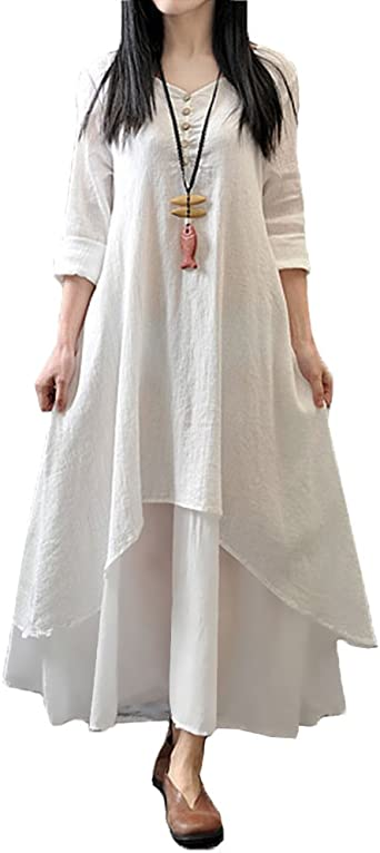 TALLA XXL. Romacci Vestido Suelto Vestido Ocasional de Las Mujeres Manga Larga Sólida Maxi Vestido Largo de Boho Blanco XXL