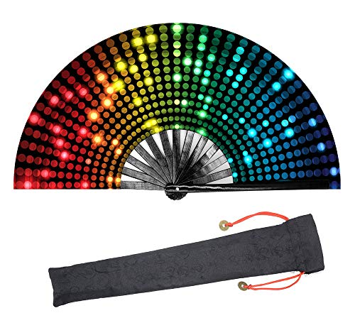(Leehome Large Rave Folding Hand Fan for Women/Men,Chinese/Japanese with Bamboo and Nylon-Cloth Handheld Fan,for Performance,Decorations, Dance,Festival Party,Gift (DJ01))