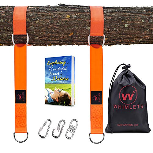 Whimlets Tree Swing Straps Hanging Kit - Two Straps Extra Long with Safer Lock Snap Carabiner Hooks - Perfect for Tree Swings & Hammocks - Easy and Fast Installation (Spinner Tree)