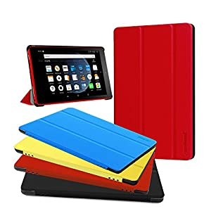 All-New Amazon Kindle Fire HD 8 Case,Zerhunt Lightweight Slim Shell Stand Cover with Smart Auto Wake/Sleep for Amazon Fire HD 8 Tablet (2017/2016 Release,7th/6th Generation) Red