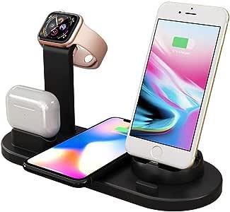 حامل شاحن لاسلكي متعدد الوظائف ، قاعدة هاتف مع شاحن لاسلكي Qi for iWatch 5/4/3/2/1 لـ Iphone 11 Pro Max 11 XS MaX XR X لأجهزة airpods
