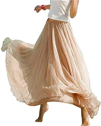 Mullsan Women Retro Vintage Double Layer Chiffon Pleat Maxi Long Skirt Dress (A Beige)