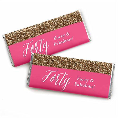 (Chic 40th Birthday - Pink and Gold - Candy Bar Wrappers Birthday Party Favors - Set of 24)