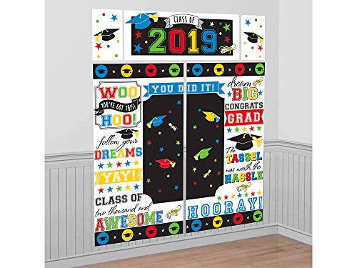 (Amscan Rainbow 2019 Graduation Scene Setter, Includes Banner, 2 Large Poster and 2 Small Posters, 65
