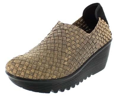 Bernie Mev Womens Gem Wedge Shoes,Bronze,36