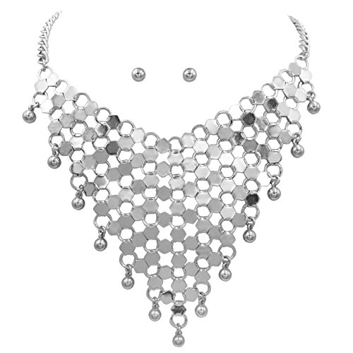 Gypsy Jewels Silver Tone Boutique Style Bib Statement Necklace & Earring Set (Honeycomb) (Necklace Bib Drop)