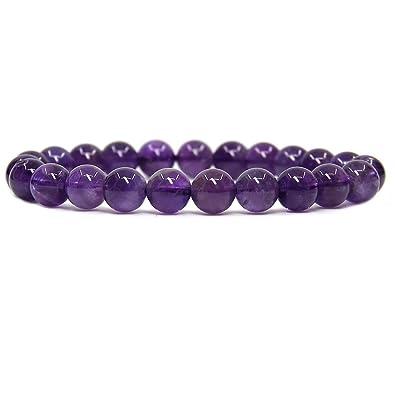 319af2ea71 Natural A Grade Amethyst Gemstone 8mm Round Beads Stretch Bracelet 7 quot   ...