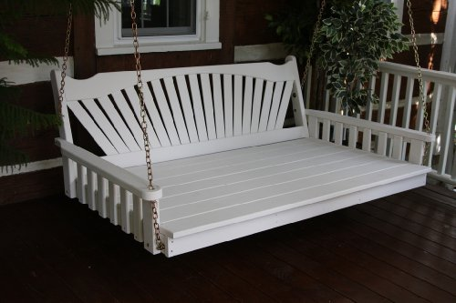 Outdoor 6' Fanback Swing Bed - Oversized Porch Swing - PAINTED- Amish Made USA -White