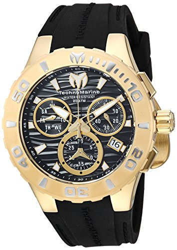 (Technomarine Men's Cruise Stainless Steel Quartz Watch with Silicone Strap, Black, 26 (Model:)