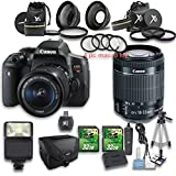 Canon EOS Rebel T6i DSLR Camera + 18-55mm IS STM Lens + Wideangle Lens + Telephoto Lens + 2 PC 32GB Memory Card + 4 PC Macro Bundle + Flash Light + Tripod + Remote Control + Case