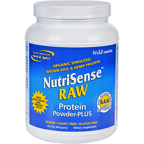 North American Herb and Spice Protein Powder - NutriSense - Raw - Plus - 28.2 oz American Bodybuilding Mass Recovery