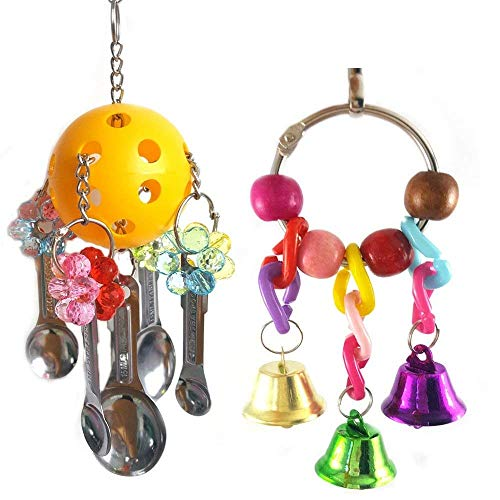 (Hamiledyi Bird Toys Parrot Metal Chewing Toys with Spoons Bells Delight Bird Toy Parrot Cage Toys Cages African)