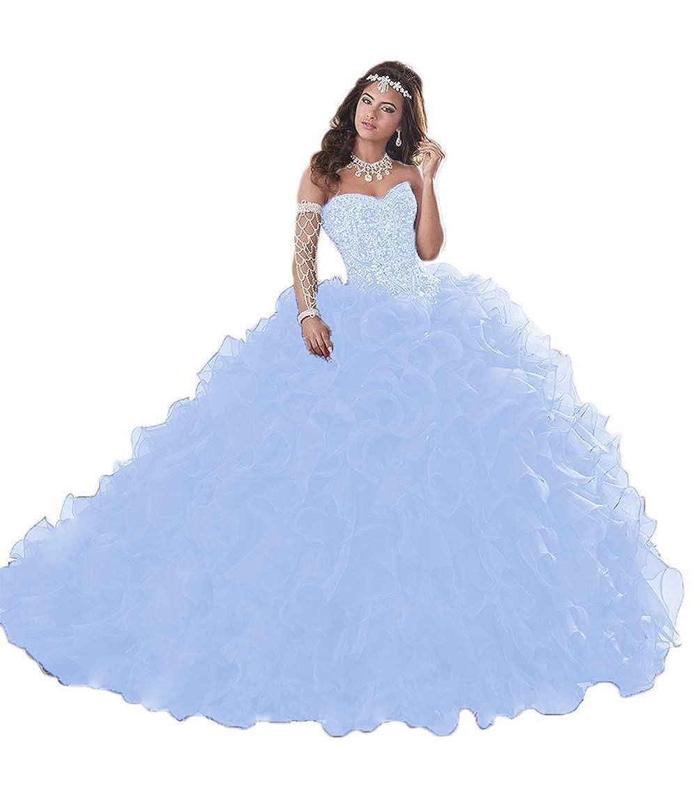 b63f763862 Wanshaqin Women s Heavy Beaded Sweetheart Ball Gowns Dresses Organza Ruffles  Quinceanera Dresses for Sweet 16 at Amazon Women s Clothing store