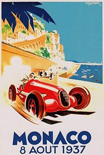 GRAND PRIX de MONACO POSTER 1937 French Vintage Car Racing RARE HOT NEW 24x36 by (Rare Vintage Poster)