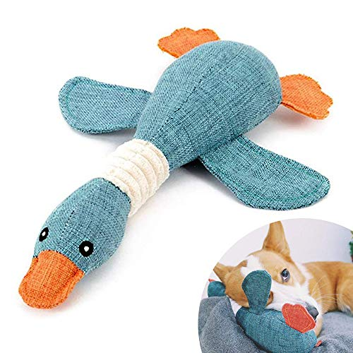 Pet Mallard Duck Dog Toy for Aggressive Chewers Dog, Squeaky Wild Goose Puzzle Training Toys, Dog Chew Toys with Squeakers for Boredom, Cute Soft Pet Toy for Small Medium Dogs(Blue)