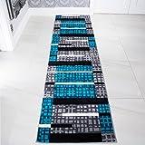 Teal Blue Colour Patchwork Bohemian Squares Design Living Room Floor Rug 2