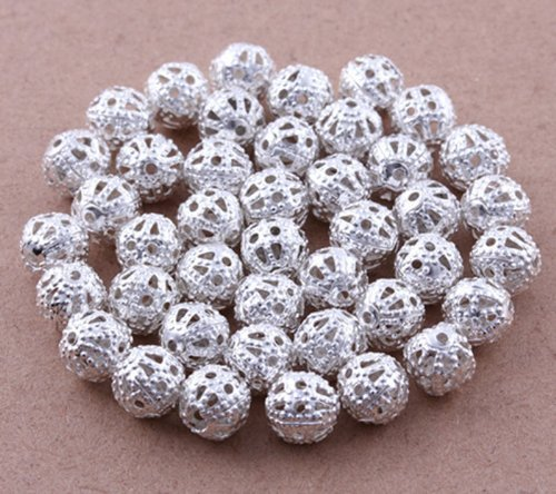 (Five Season 6mm (Silver Plated) Filigree Round Metal 6mm Spacer Beads For Jewelry Making (About 200pcs))