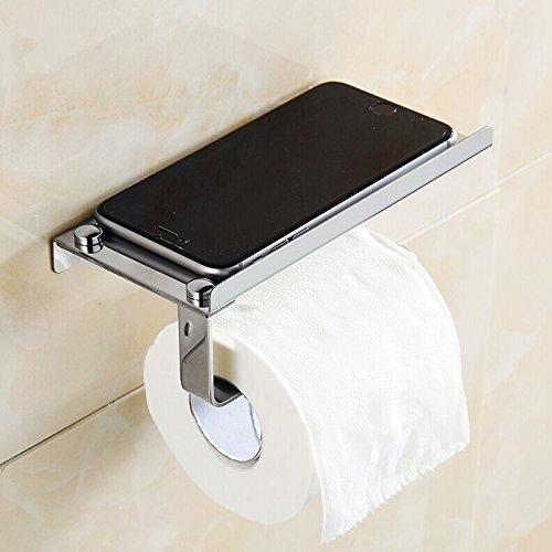 Money coming shop 1Pc Stainless Steel Roll Towel Tissue Paper Holder Mobile Phone Shelf Rack Toilet Tissue Boxes Kitchen Bathroom Accessories (Magnetic Spigot Key compare prices)