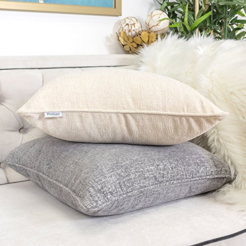 Homey Cozy Chenille Textured Throw Pillow Cover,Chenille Solid Series Silver White Large Sofa Couch Decorative Pillow Case Western Home Decor 20x20, Cover Only