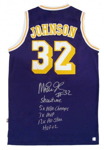 3f8a4df5b9e Image Unavailable. Image not available for. Color  Magic Johnson Signed  Official NBA Adidas Purple Lakers Basketball 5 Stat Jersey ...