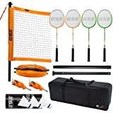 Premium Quality Portable Outdoor Complete Badminton Set. Comes with Badminton Net System, 4 Badminton Racquets, 3 Shuttlecocks, and Carrying Bag. Great For Backyard, Lawn, Park And Beach by GSE