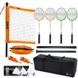 GSE Games & Sports Expert Professional Portable Badminton Set. Including Badminton Net System, 4 Badminton Racquets & 3 Nylon Shuttlecocks