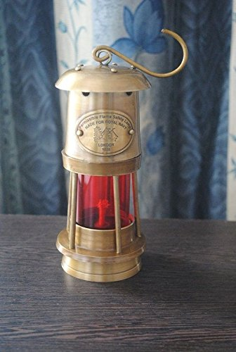 Ares India 6'' Antique Vintage Style Brass Nautical Miner Ship Lantern Oil Lamp Red by Ares India