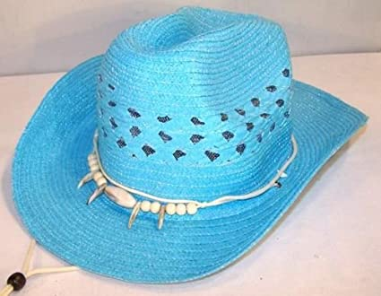 Amazon.com   Blue Cowboy   Cowgirl Woven Straw Hat with Imatation Bear Claw  and Beads Headband   Everything Else 0dfe1d903d7f