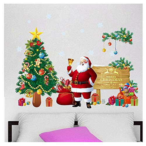 Cheap  Witkey Merry Christmas Wall Decals Christmas Tree Santa Claus Gift Box Ball..