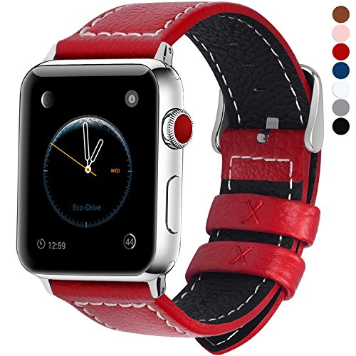 7 Colors for Apple Watch Bands, Fullmosa Jan Calf Leather Strap Replacement Band/Strap with Stainless Steel Clasp for iWatch Series 1 2 3 Sport and Edition Versions 2015 2016 2017, - Red Ban