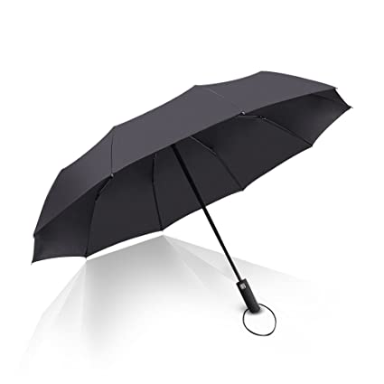 Umbrella Automatic Folding 10 Ribs Travel Golf Auto Open Close Reinforced Windproof Umbrella Foldable & Portable