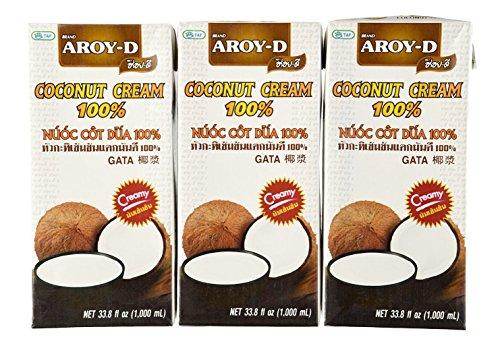 Aroy-D 100% Pure Coconut Cream, 33.8 Oz (3-pack)