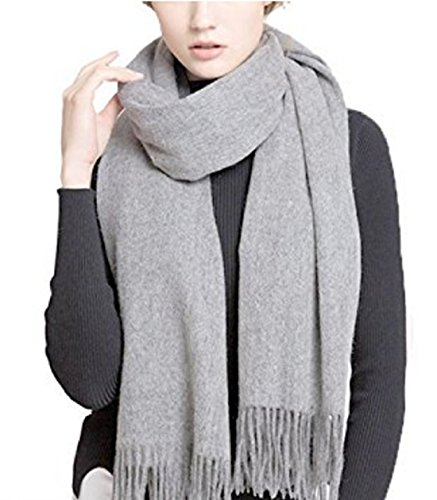 Wander Agio Womens Warm Long Large Womens Couples Scarves Cashmere Feel Pure Light Grey