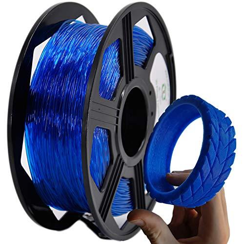 YOYI TPU 3D Printer Filament, Flexible Filament 1.75mm 0.8KG Spool,Dimensional Accuracy +/- 0.03 mm,100% Virgin Raw Material (Blue)