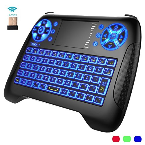 d9ae3f2690a [3-Color Backlit] Air Mouse Wireless Mini Keyboard Touchpad Remote Control  Multimedia Keys,2.4GHz USB Remote Handheld Mini Keyboard For Windows 10 7  XP ...