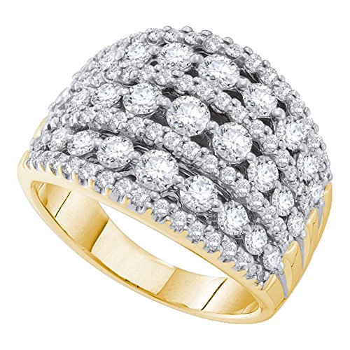 14k Yellow Gold Womens Round Diamond Symmetrical Fashion Band Ring (2.00 cttw.)