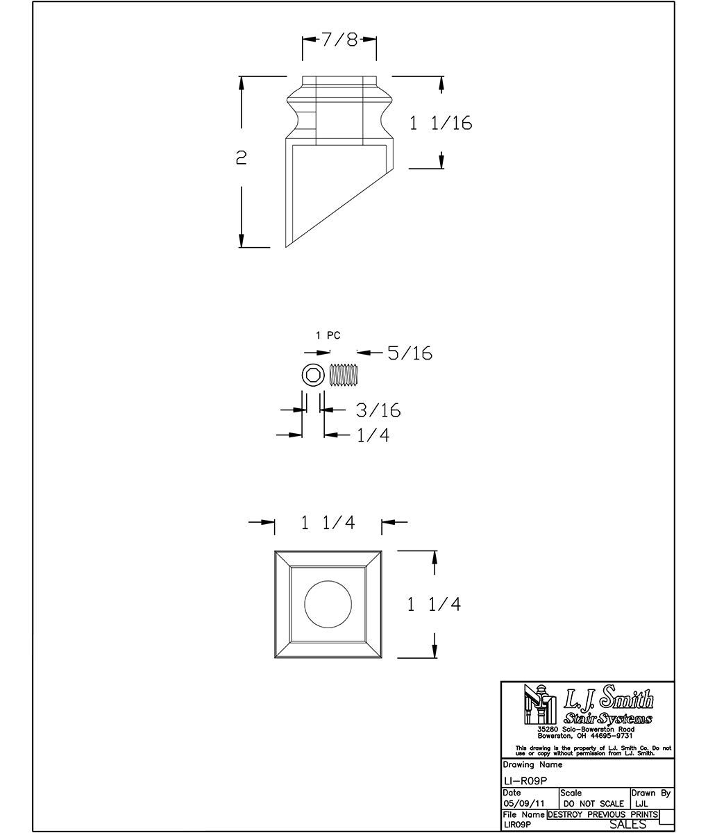 LI-R09P: 1/2'' Round Angled Iron Shoe - Set Screw Included (Matte Black)