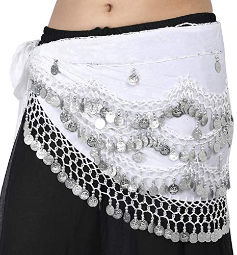 Wevez Classic Egyptian Belly Dance Hip Scarves for Professional Dancers (White)